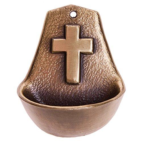 Motivationsgeschenke Weihwasserkessel Kreuz 8,5 cm Metall bronziert Weihwasserbecken Weihbecken für Zuhause