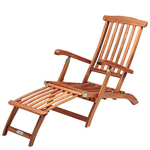 Sonnenliege Queen Mary Akazien Holz Verstellbar Fußsegment klappbar Sonnenstuhl Deckchair Garten Liegestuhl Liege*