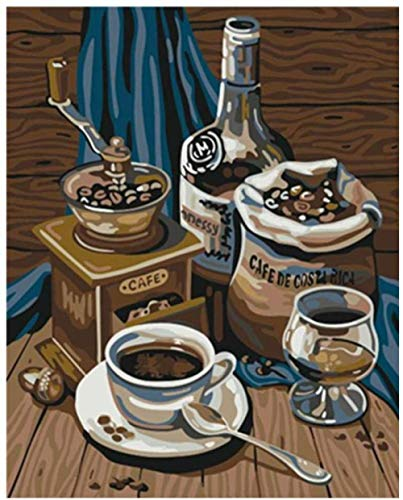 HGDSG Digitale Malerei Senior Kaffeemaschine Stillleben DIY Digitale Malerei Wandbild Acryl dekorative Malerei 40 * 50cm (kein Rahmen) Digitale Zeichnung