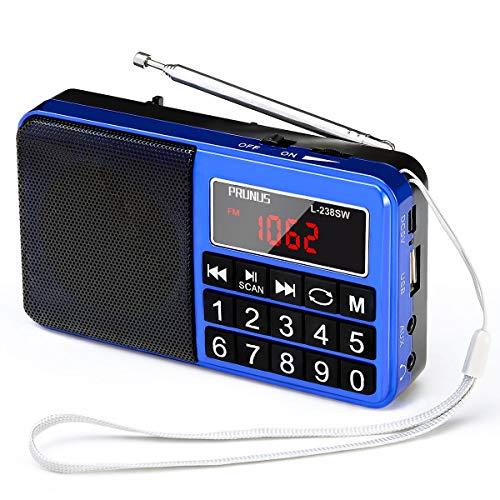 PRUNUS L-238SW Tragbares Radio klein FM/AM(MW)/SW,Große Gummierte Knöpfe&Display Digital Radio für Senioren,Kleines Radio mit AUX/SD/TF/MP3 Lautsprecher,Batteriebetrieben.(Blau)
