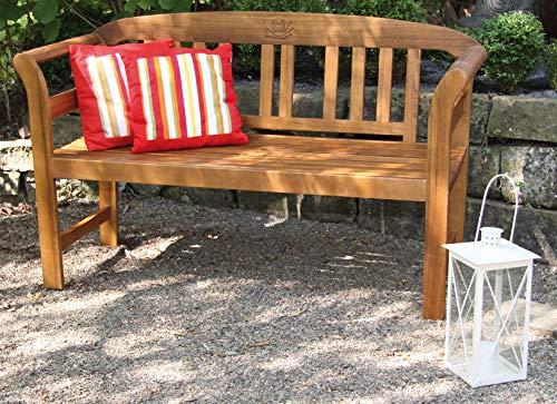 acamp Hochwertige Gartenbank Batam 2-Sitzer aus Akazienholz mit Teaköl Finish geschnitztes Rosenmuster