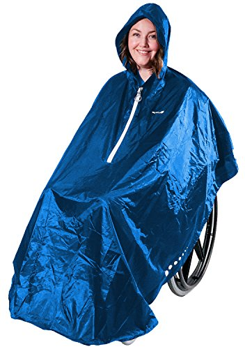 GOTITA – Der Poncho für den Rollstuhl – Der vielfältig einsetzbare Regenschutz für den Rollstuhl – einfache Handhabung, leichtes An- und Ausziehen – italienisches Design (Königsblau)