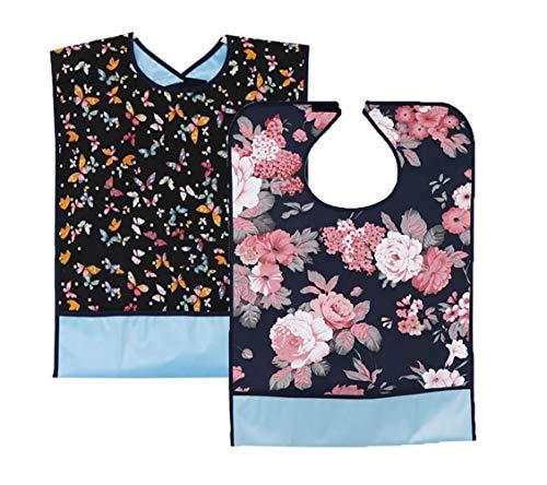 Wasserdicht Erwachsenen Lätzchen 2er Set- Waschbar Wiederverwendbare Mealtime Lätzchen Kleiderschutz mit Krümelfach und Klettverschluss für ältere Männer Frauen Senioren(Blume + Schmetterling)