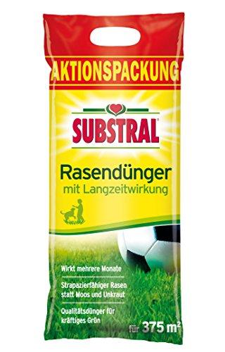 Substral Rasendünger, mit Langzeitwirkung, 100 Tage Langzeitdüngung, mit umhüllten Langzeitstickstoff, 7,5 kg für 375 m²