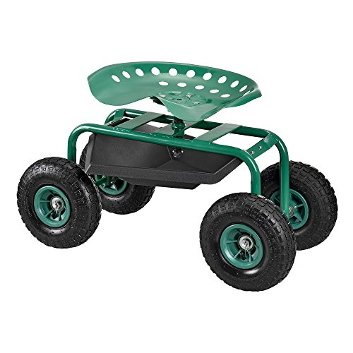 pro.tec] Fahrbarer Gartensitz Scooter Rollsitz [grün] Rollwagen Gartenhelfer*