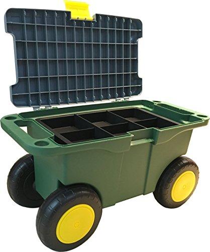 UPP Garten Roll-Sitzbox mit Staufach, ideal auch als Outdoor Werkzeugwagen | Der Rollwagen ist der rückenschonende Gartenhelfer beim Beet bepflanzen | Bis 90 KG belastbar | Sitzhöhe 29 cm