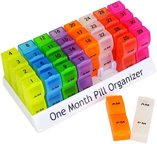 Netagon farbenfroher tragbarer Organizer für jeden Tag AM & PM 1 Monat Aufbewahrungsbox Pillen-Organizer für Tabletten, Vitamine, Medikamente und Tabletten