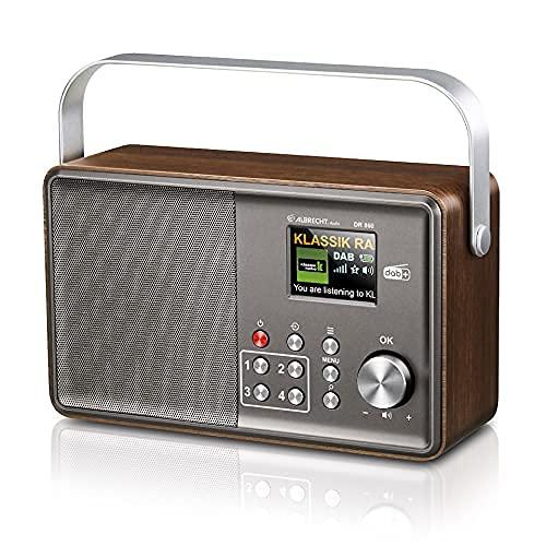 Albrecht DR860 Seniorenradio, 27860, bedienerfreundliches DAB+/UKW Radio, 2,4'' TFT Farbdisplay im Retrostil mit Teleskopantenne, Farbe: braun/grau