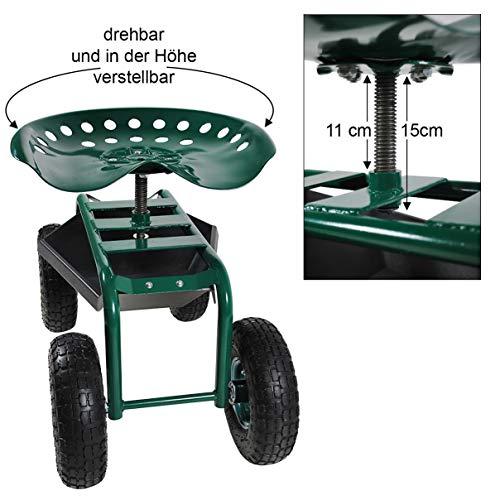 Helo Gartensitz fahrbar mit Rollen (bis 136 kg belastbar), Stahlgestell Garten Rollsitz mit ergonomischer Sitzfläche, 360° drehbar, höhenverstellbar, Profil Gummi Räder und Ablagefläche unterm Sitz
