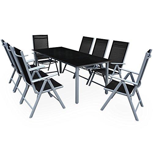Deuba Sitzgruppe Bern 8+1 Aluminium 7-Fach verstellbare Hochlehner Stühle Tisch mit Sicherheitsglas Silber Garten Set