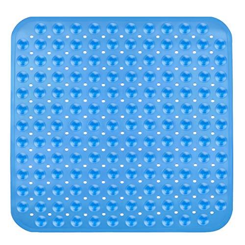 OUTOPE Duschmatte, Antirutschmatte Dusche für Kinder, Quadratisch Duscheinlage Duschmatte rutschfest mit Saugnäpfen 54 X 52cm, Transparent Blau*