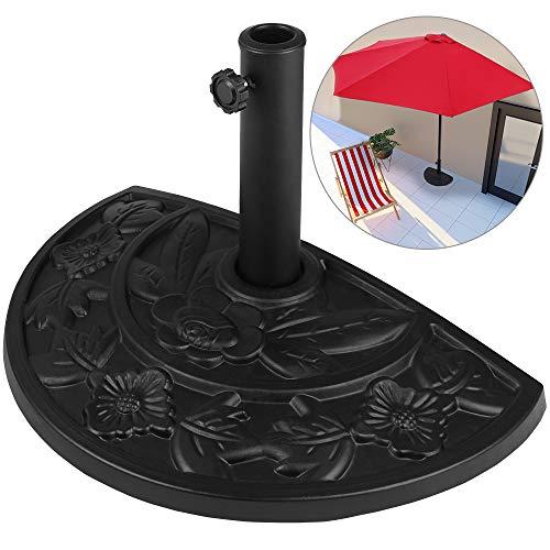 Deuba Sonnenschirmständer halbrund 9 kg Blumen Design schwarz Gussoptik Schirmständer wetterfest Sonnenschirm Ständer
