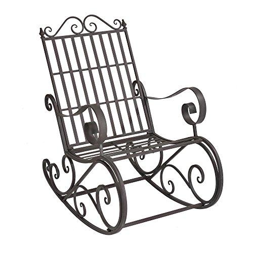 [en.casa] Schaukelstuhl Geraldton 92x59x90cm Schaukelsessel im Landhausstil Schwingsessel für Garten Metall Grün