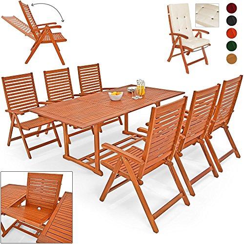 Deuba® 6+1 Sitzgarnitur Unikko   Eukalyptusholz inkl. 6 Auflagen Creme   Sitzgruppe Essgruppe Tischgruppe Garten Möbel Set