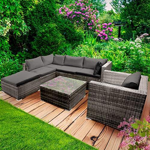 BRAST Poly-Rattan Gartenmöbel Lounge Set 15 Modelle 3 Farben 4-12 Personen Aluminium Sitzgruppe Cosy Grau